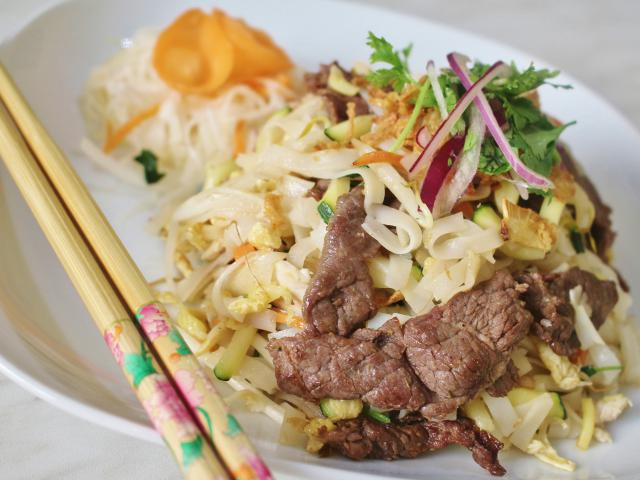 30. Fried rice noodles Pho with beef