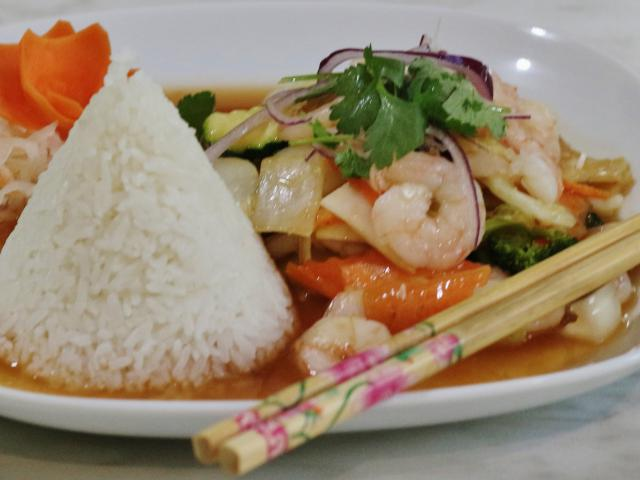 65. Sautéed shrimp on lemongrass and chili